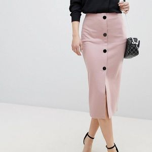 Size 6 and 8 Pink ponte pencil skirt with buttons